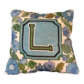 Monogrammed Needle Point Pillow For Sale