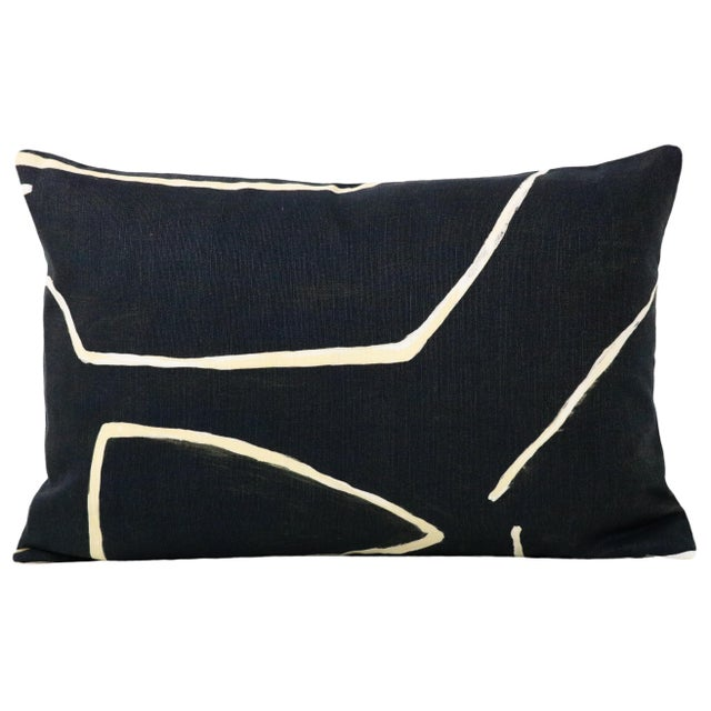 Pair of custom-made pillows in Graffito in the Onyx + Beige colorway. Meticulously handcrafted with serged interior seams,...