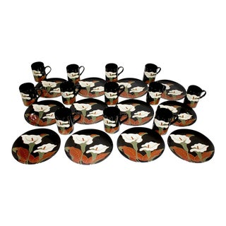 Fitz and Floyd Calla Lily Black - 24 Pc Set For Sale