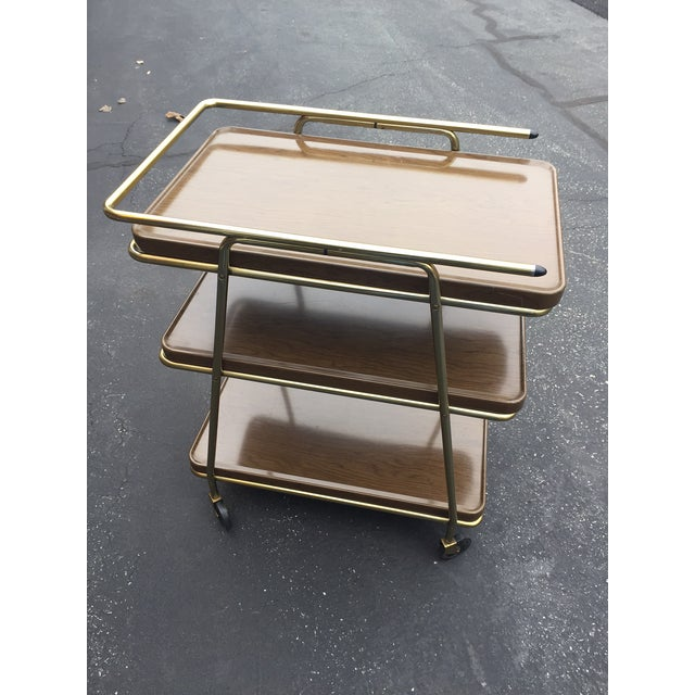 Mid-Century Atomic Age Three-Tiered Bar Cart - Image 8 of 9