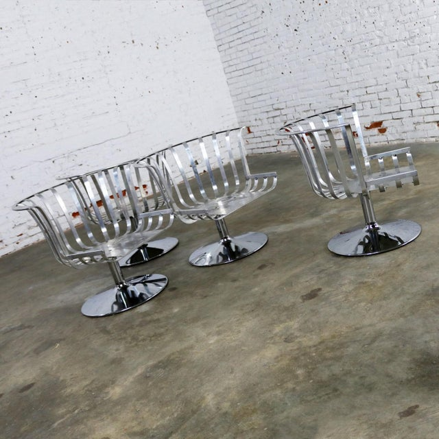 Polished Aluminum Tulip Shaped Swivel Lounge Chairs by Russell Woodard - Set of 4 For Sale - Image 6 of 11