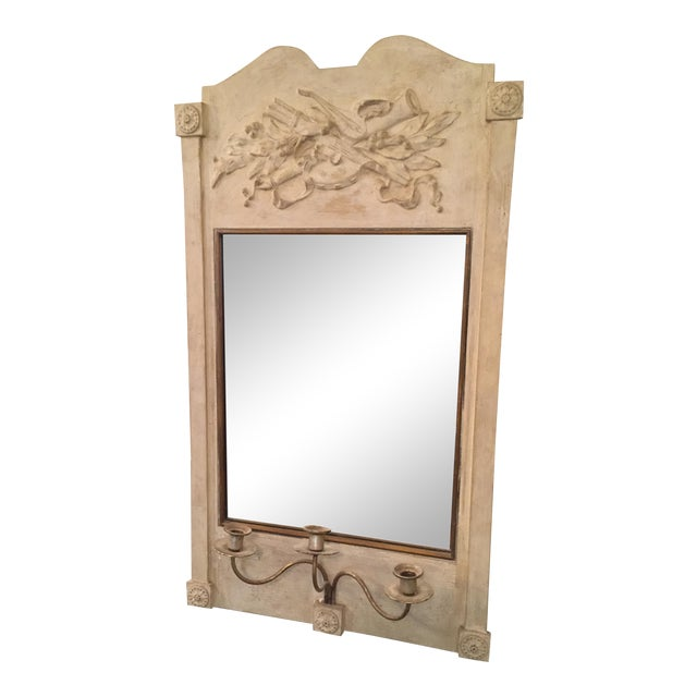 Antique Mirror With Candle Holder - Image 1 of 3