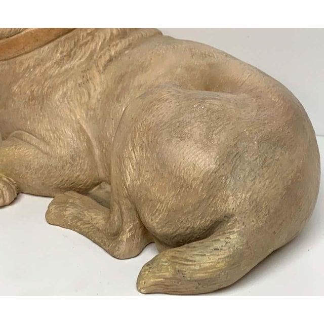 Ceramic Late 19th Century Antique English Terracotta Recumbent Pug Dog For Sale - Image 7 of 10