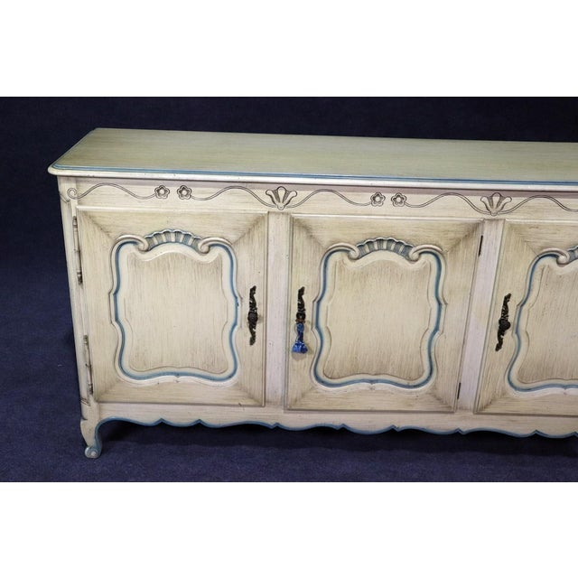 French French Louis XV Style Paint Decorated Sideboard For Sale - Image 3 of 8