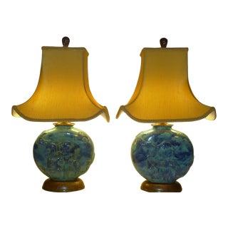 Austria 1920s Vally Wieselthier Wiener Werkstatte Modern Potttery Table Lamps - a Pair