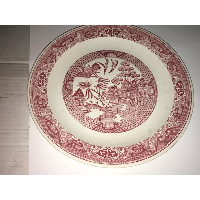 White 1970s Vintage Willow Ware Red & White Porcelain Plate For Sale - Image 8 of 10