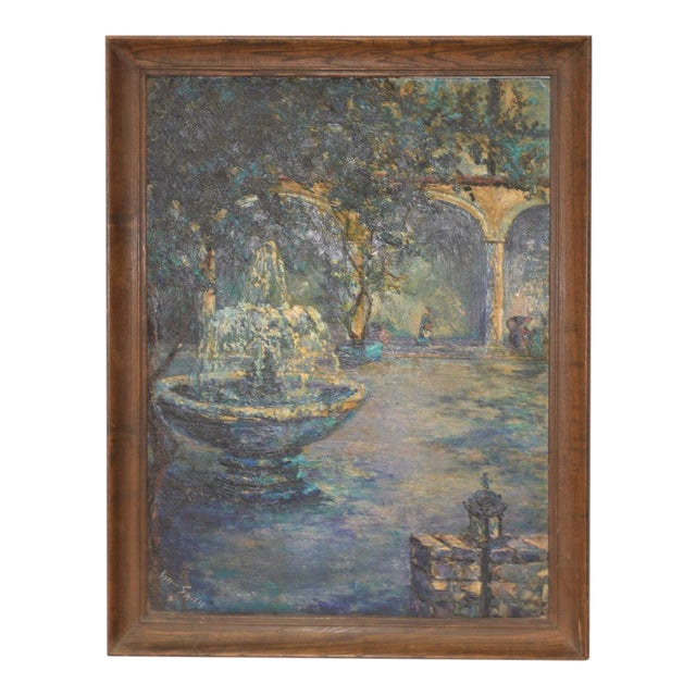 Mid Century Illuminated Fountain at Dusk Oil Painting by Ione Smith C.1967 For Sale