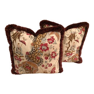 Brunschwig & Fils Chinoiserie Pillows - A Pair For Sale