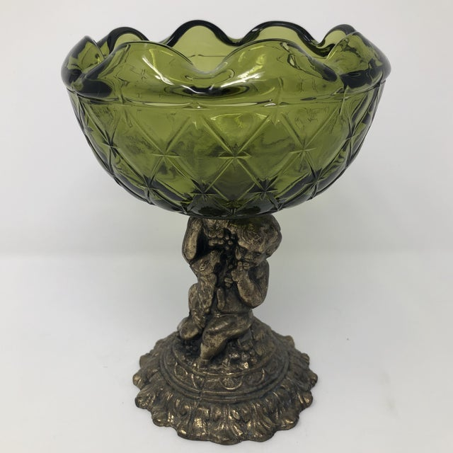 Metal Crystal and Brass Cherub Compote Epergne For Sale - Image 7 of 8