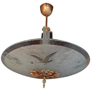 Swedish Art Deco Acid Etched Eagle Fixture by Glössner, Circa 1930 For Sale