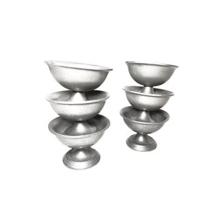 1950s Vintage Mid Century Wilton Pewter Ice Cream Dishes, Made in the Usa - Set of 6 Preview