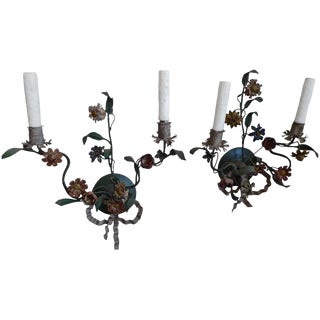 Italian 18th Century Hand-Painted Floral Toile Sconces With Two Lights Each - a Pair For Sale