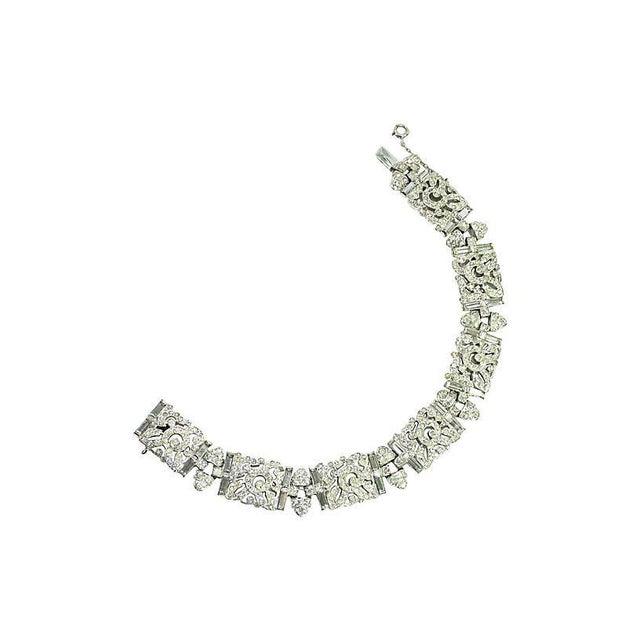 Silver Art Deco Ktf Trifari Crystal & Rhodium Bracelet, 1930s For Sale - Image 8 of 8