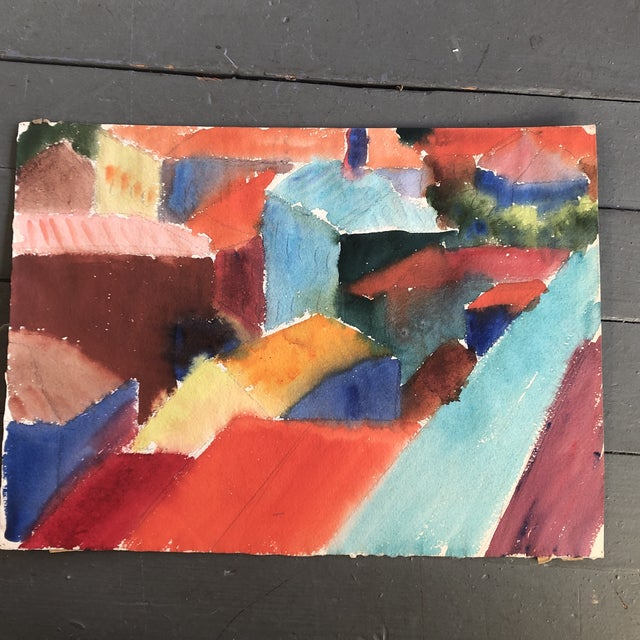 1960s Vintage Original Abstract Rooftop Watercolor Painting For Sale - Image 5 of 5