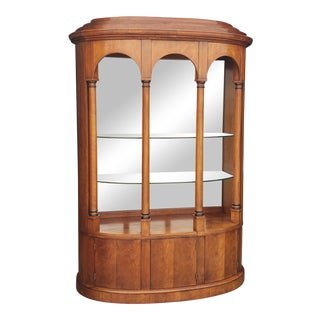 Henredon Demilune Cherry Wood Display Cabinet For Sale