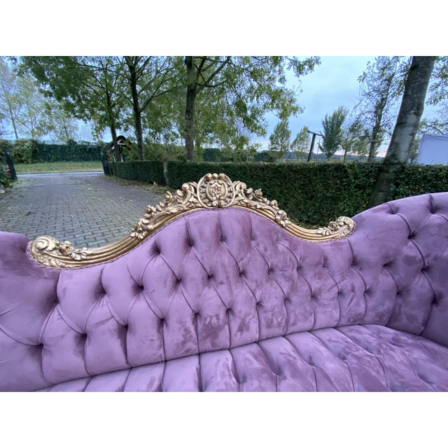 French New Purple French Louis XV Style Sofa. Made to Order For Sale - Image 3 of 8