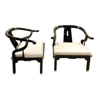 Black Lacquer Ming Chairs - a Pair For Sale