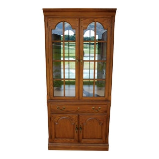 "Thomasville New American Oak Lighted Wall Cabinet 80""h X 36""w For Sale"