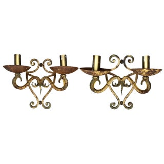 Antique Off-White French Wrought Iron Sconces - a Pair For Sale