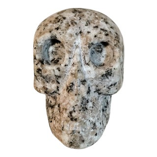 Vintage Stone Skull Carved Marble Granite Paperweight For Sale