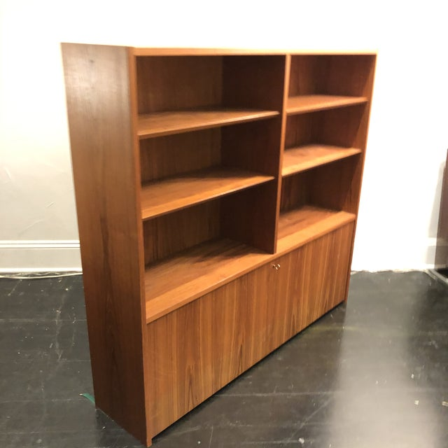 Hundrvad Danish Teak Wall Unit With Drop Down Desk - 2 Pieces For Sale - Image 11 of 13