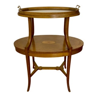 Early 20th Century Inlaid Two Tier Dessert Table W/ Serving Tray For Sale