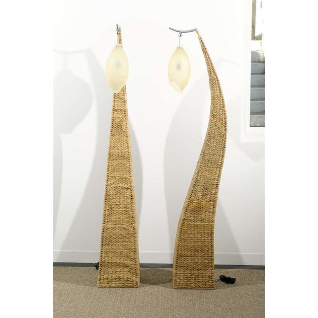 Fantastic Pair of Giant Raffia Floor Lamps For Sale - Image 4 of 10