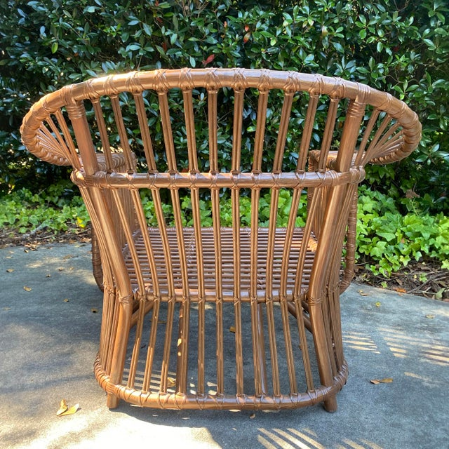 Brown Henry Olko Style Rattan Club Chair For Sale - Image 8 of 10