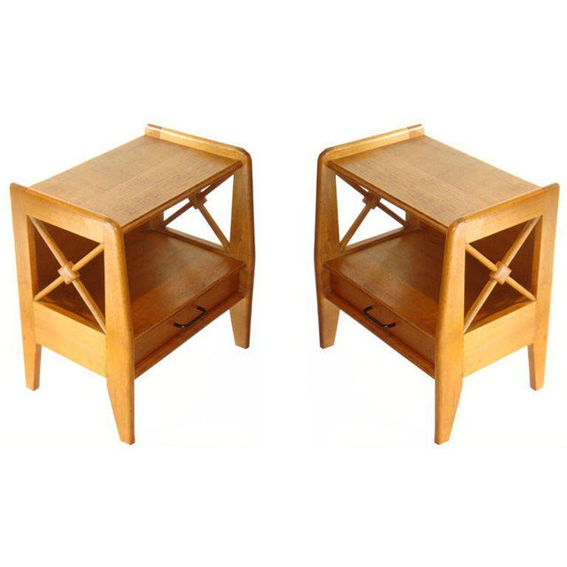 Jacques Adnet Vintage 1950s Jacqurs Adnet Oak Night Stands - a Pair For Sale - Image 4 of 4