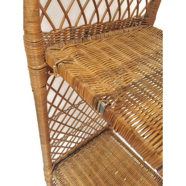Vintage Domed Rattan Etagere Danny Fong Style For Sale - Image 9 of 12