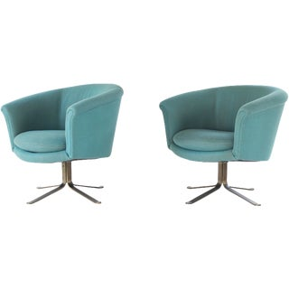 Mid Century Modern Nicos Zographos Swivel Lounge Chairs With Metal Base - A Pair