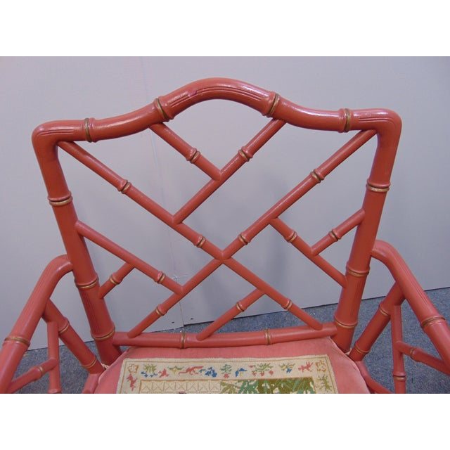 Mid 20th Century Regency Faux Bamboo Rose Arm Chairs - a Pair For Sale In Philadelphia - Image 6 of 9