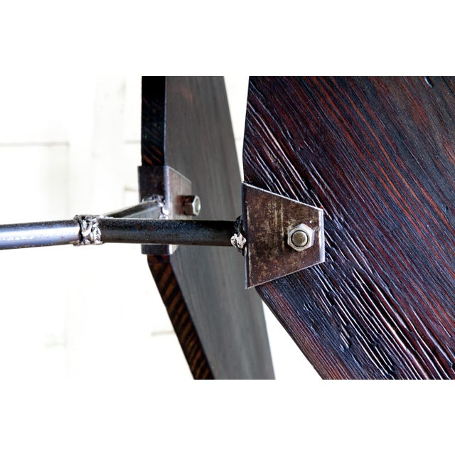 """Prouve Style Artisan Made Em Solvay Black Dining Conference Table - Black Brown 80"""" For Sale - Image 10 of 11"""