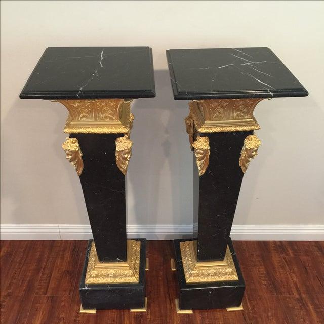 Ormolu-Mounted Black Marble Pedestals - Pair - Image 2 of 11