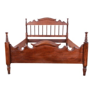 Antique Solid Walnut Jenny Lind Spindle Bed Frame For Sale