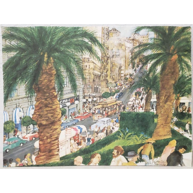 "Franklin McMahon ""Powell Street, San Francisco"" Original Watercolor C.1981 For Sale - Image 10 of 10"