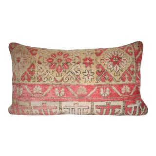 Vintage Handwoven Low Pile Soft Color Oushak Rug Pillow Cover, Ethnic Lumbar Cushion Cover 16'' X 28'' (40 X 70 Cm) For Sale