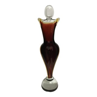 Abstract Murano Deep Red & Clear Art Glass Female Sculpture For Sale