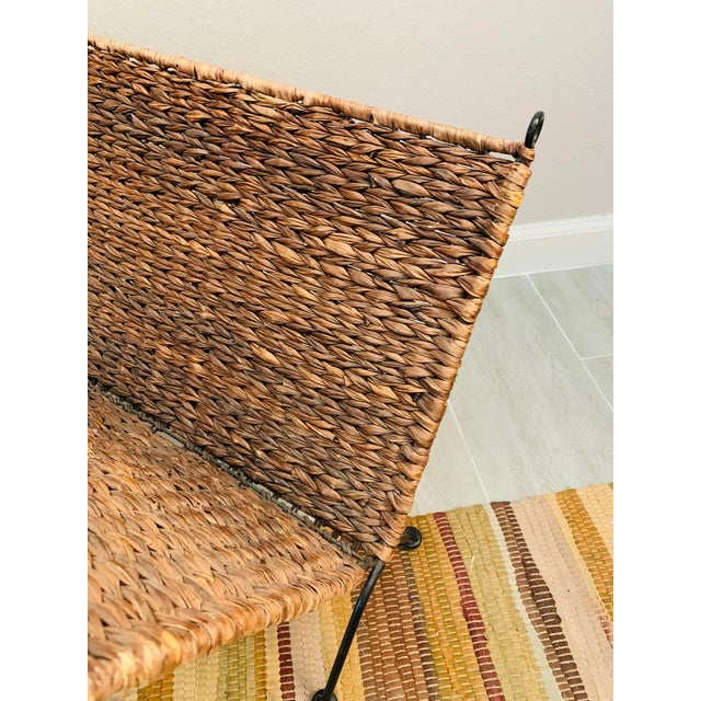 Late 20th Century Iron and Wicker Magazine Rack Holder Vintage Mid Century Umanoff Style For Sale - Image 5 of 10