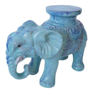 Mid-Century Elephant Figure Garden Stool or Drinks Table Blue Glazed Terra Cotta From Italy For Sale