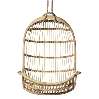 Boho Chic Rattan Hanging Chair For Sale