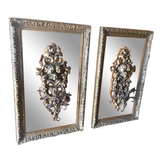 19th Century Italian Carved Giltwood Candles on Mirrors - A Pair For Sale