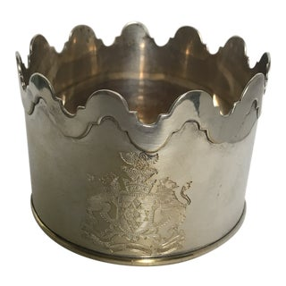 Late 20th Century Vintage Armorial Crest Silver Plated Wine Cooler For Sale