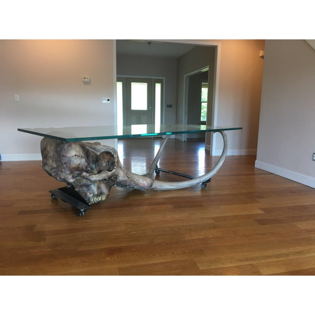 Large Woolly Mammoth Head 8ft Glass Top Table For Sale In New York - Image 6 of 13