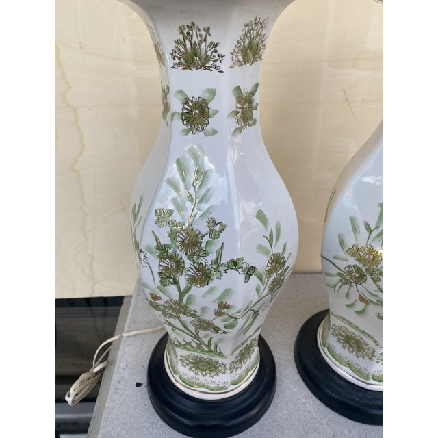 Traditional Oriental Style With Flowers Lamps - A Pair For Sale - Image 3 of 10