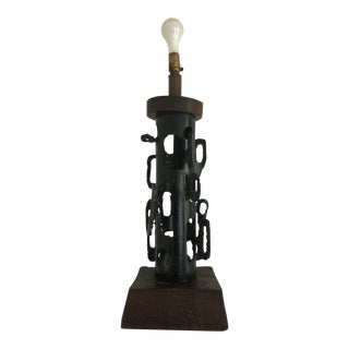 1960s Vintage Witco Brutalist Metal Wood Lamp