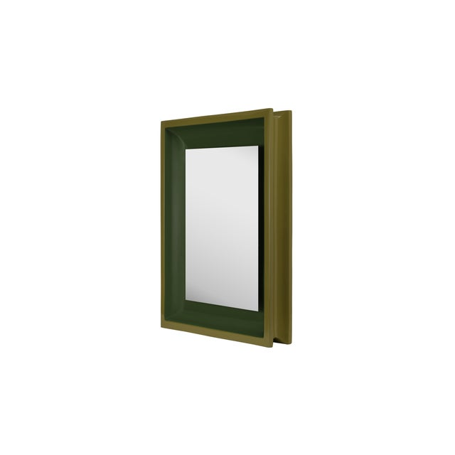 Contemporary Jeffrey Bilhuber Collection Small Rectangular Floating Mirror in Light Olive / Dark Olive For Sale - Image 3 of 3