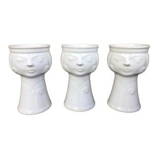 Vintage Veb Haldensleben Face Vases - Set of 3 For Sale