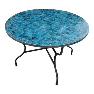 """Moroccan 48"""" Round Mosaic Table, Blue Petrol For Sale"""