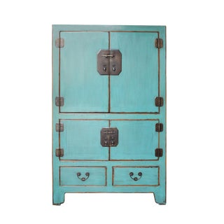 Chinese Vintage Hardware Distressed Pastel Blue Storage Cabinet For Sale